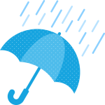 雨天(雨の天気)マークのイラスト