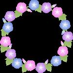 朝顔(あさがお)の花のリース風フレーム枠イラスト