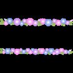朝顔(あさがお)の花のライン飾り罫線イラスト