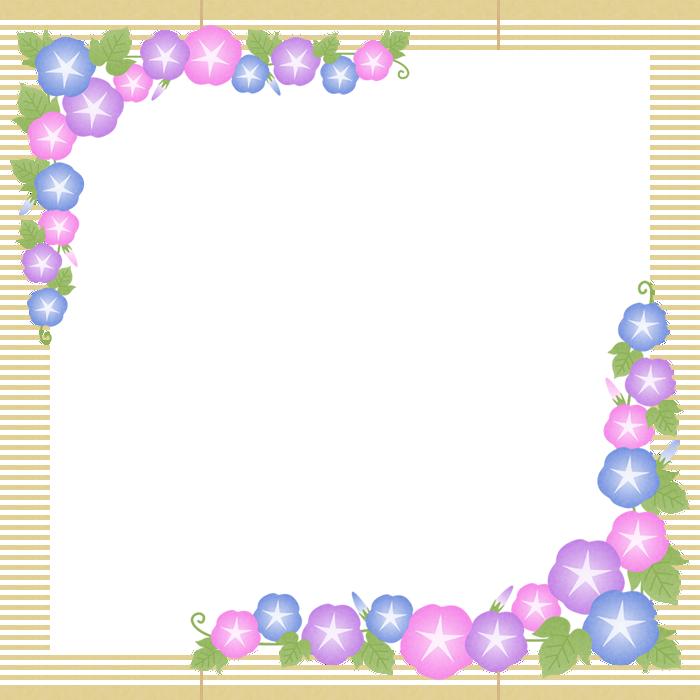 朝顔と簾(すだれ)のフレーム飾り枠イラスト<正方形>