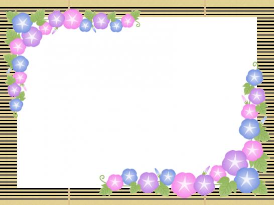 朝顔と簾(すだれ)のフレーム飾り枠イラスト<長方形>