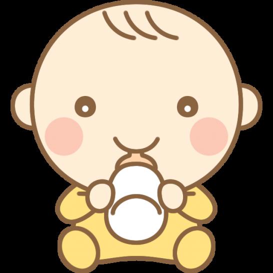 ミルクを飲むかわいい赤ちゃん(赤ん坊)のイラスト