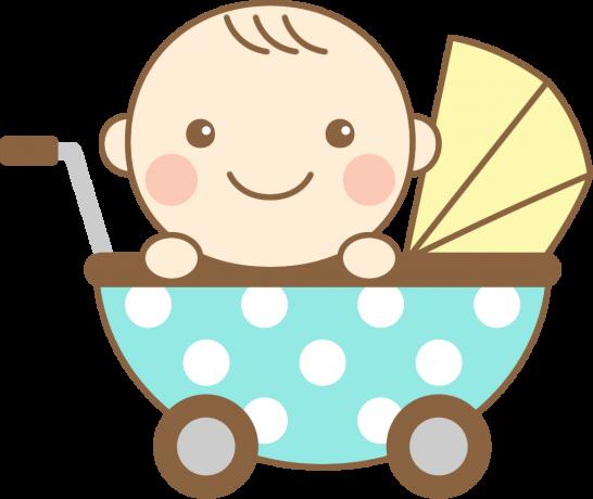 ベビーカー(乳母車)に乗ったかわいい赤ちゃんのイラスト