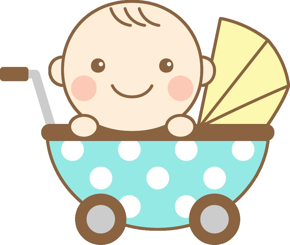 ベビーカー(乳母車)に乗ったかわいい赤ちゃんのイラスト | 無料フリー