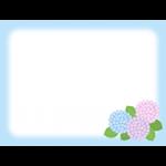 【梅雨のイラスト】紫陽花(あじさい)の背景フレーム枠
