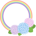 【梅雨のイラスト】虹とアジサイのフレーム枠