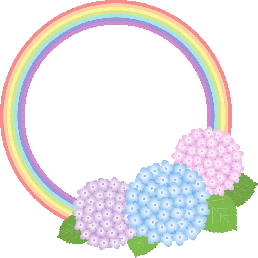 虹とアジサイのフレーム枠イラスト