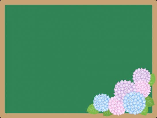 紫陽花を飾った黒板フレーム枠イラスト