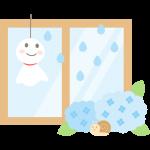【梅雨のイラスト】窓際のてるてる坊主とアジサイ