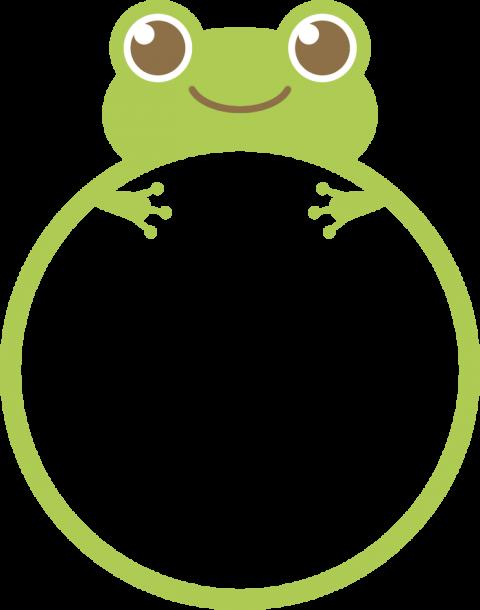 かわいい蛙のフレーム枠イラスト