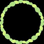 葉っぱ(新緑・若葉)のリース風フレーム枠イラスト
