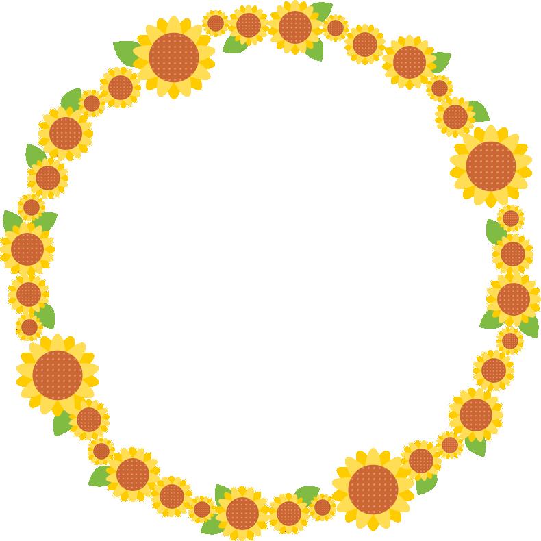 向日葵(ひまわり)のリース風フレーム枠イラスト