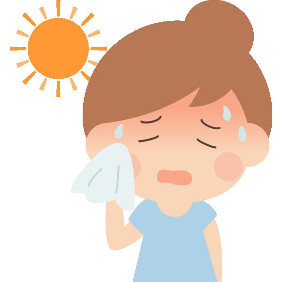 熱中症の女性のイラスト