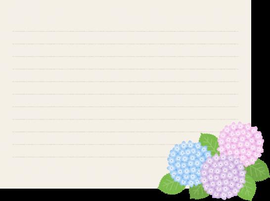 【梅雨のイラスト】アジサイを飾った便箋(ノート)