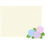 【梅雨のイラスト】紫陽花を飾ったメモ用紙