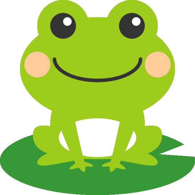 葉っぱの上に乗った可愛い蛙のイラスト