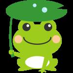 葉っぱの傘をさした可愛い蛙(かえる)のイラスト