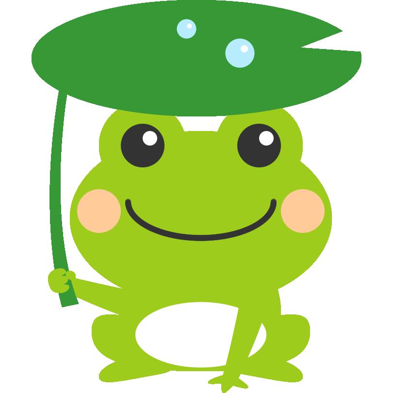 葉っぱの傘をさした可愛い蛙のイラスト