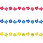 北欧風デザインの花柄ライン飾り罫線