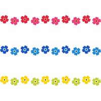 北欧風(フィンランド風)の花柄ライン飾り罫線