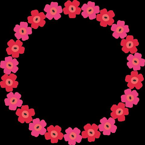 北欧風の花柄フレーム枠<赤☓ピンク>