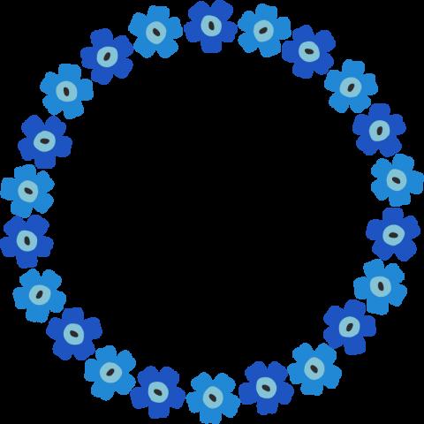 北欧風の花柄フレーム枠<青☓水色>