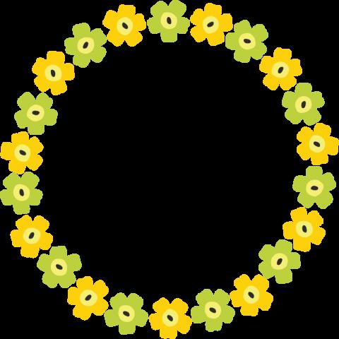 北欧風の花柄フレーム枠<黄色☓黄緑>