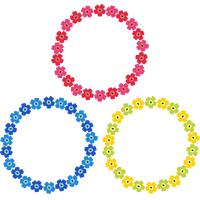 北欧デザイン風(フィンランド風)の花柄フレーム飾り枠イラスト<リース・丸型>