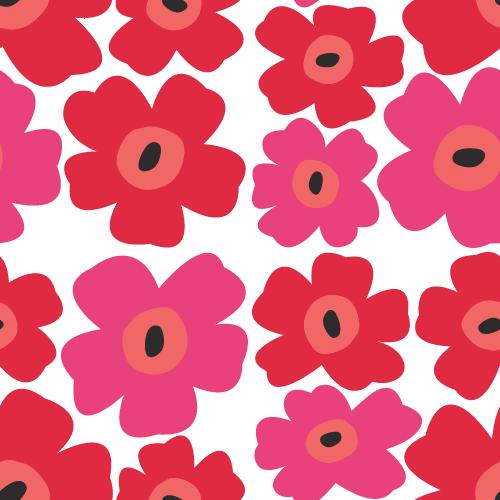 北欧風の花柄パターン背景<赤☓ピンク>