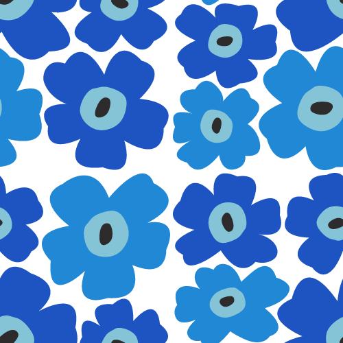 北欧風の花柄パターン背景<青☓水色>