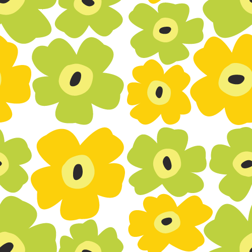 北欧風の花柄パターン背景<黄色☓黄緑>