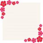 北欧デザイン風の花を飾った便箋のイラスト
