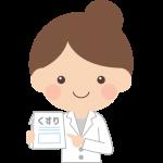お薬を持った薬剤師の女性イラスト