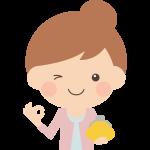 【節約・収入のイラスト】財布を持ってOKポーズをする女性