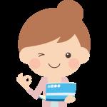 預金通帳の貯蓄額を見て喜ぶ女性のイラスト