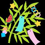 【七夕のイラスト】可愛い七夕飾り(笹飾り)のイラスト素材