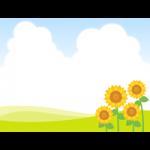 夏空とひまわりの背景イラスト素材