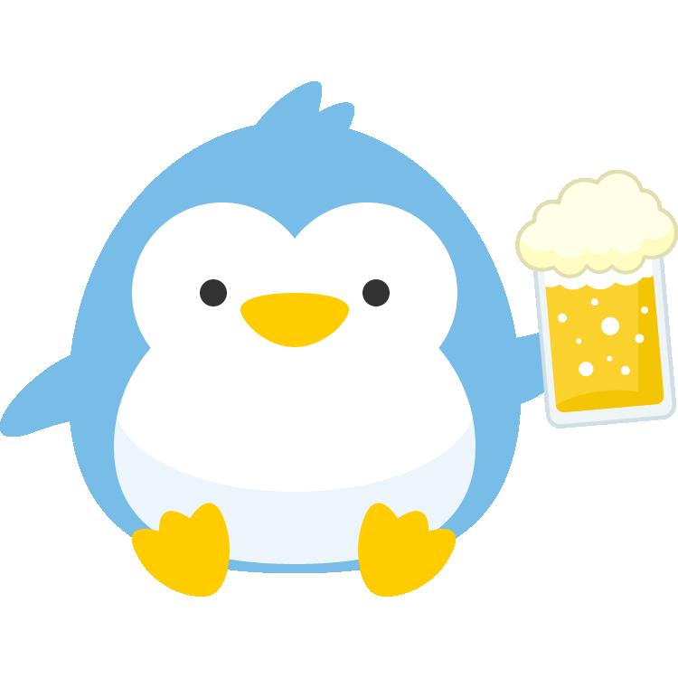 生ビール(ビールジョッキ)を持った可愛いペンギンのイラスト