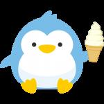 ソフトクリームを持った可愛いペンギンのイラスト