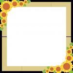 簾(すだれ)と向日葵のフレーム飾り枠イラスト