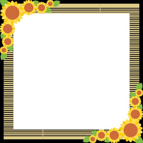 簾(すだれ)と向日葵のフレーム飾り枠イラスト<正方形>