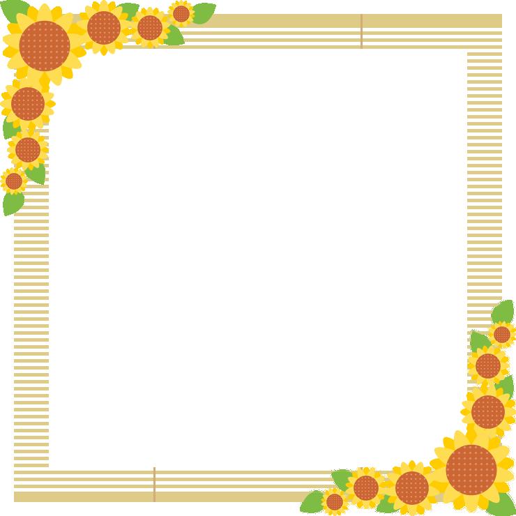 ひまわりと簾(すだれ)のフレーム飾り枠イラスト<正方形>