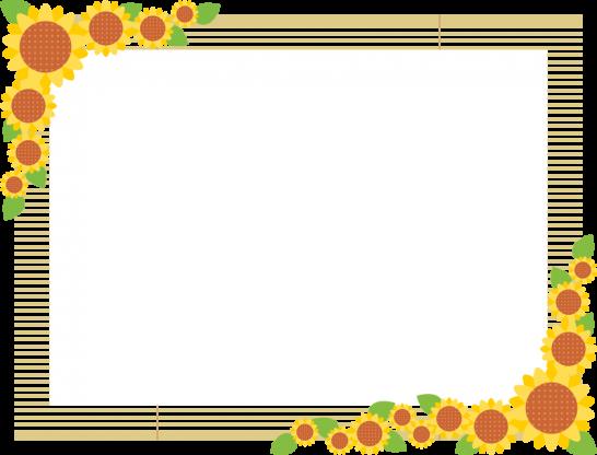 簾(すだれ)と向日葵のフレーム飾り枠イラスト<長方形>