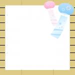 簾(すだれ)と風鈴のフレーム飾り枠イラスト