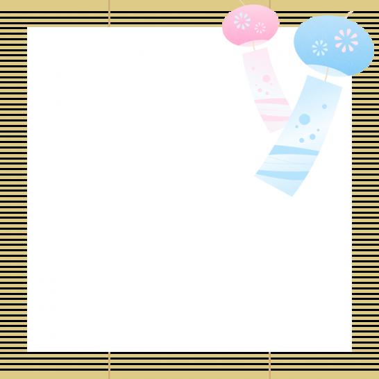 簾(すだれ)と風鈴のフレーム飾り枠イラスト<正方形>