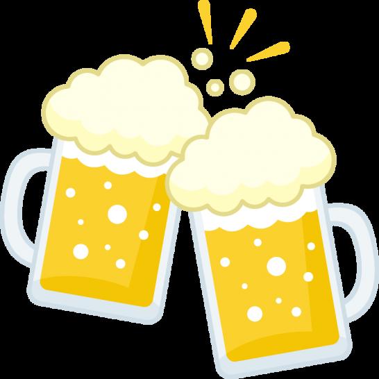 乾杯するビールジョッキ(生ビール)のイラスト