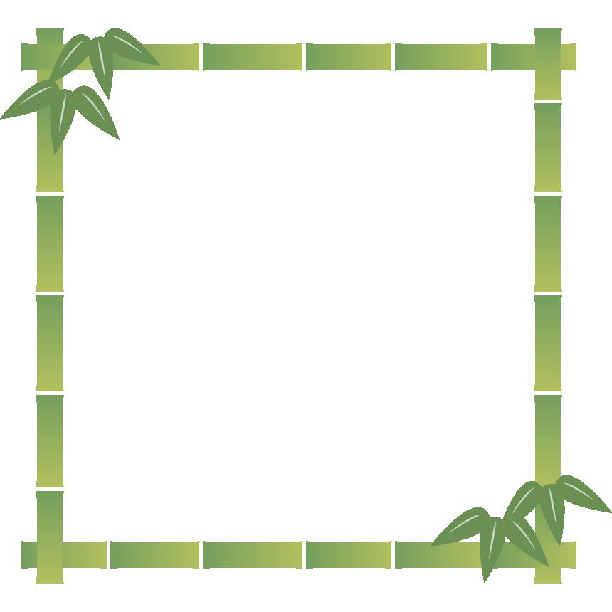 竹のフレーム飾り枠イラスト<正方形>