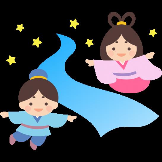 織姫・彦星と天の川の七夕イラスト素材