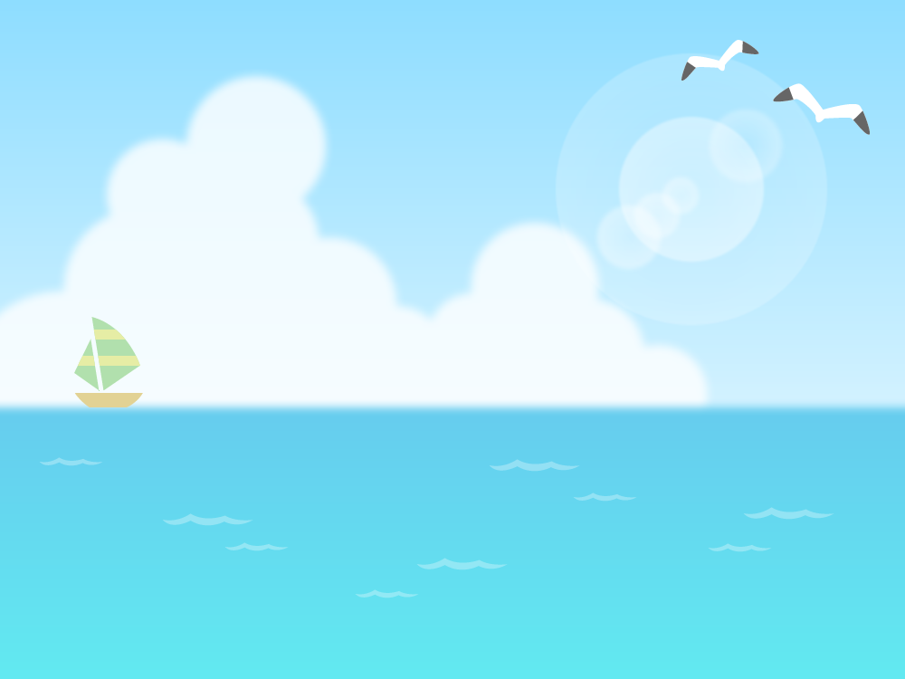 夏空と海の背景フレームイラスト