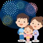 【夏祭りのイラスト】打ち上げ花火を眺める浴衣姿の親子